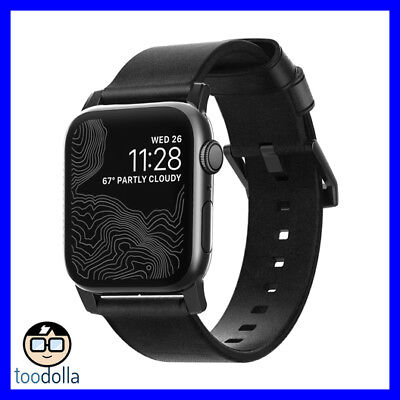 NOMAD Horween Genuine Leather Watch Strap band for Apple Watch 42/44 mm, Black