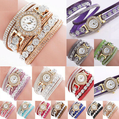 Fashion Women Ladies Analog Quartz Bling Diamond Bracelet Dress Wrist Watch  CA