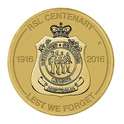 2016 Returned Services League RSL Australia $1 One Dollar UNC Coin Perth Mint