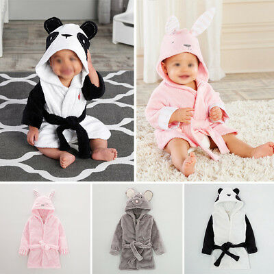 Baby Hooded Bath Robe Wrap Gown Sleepwear 0-36 Months Boys Girls New Born