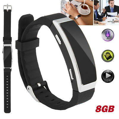 8GB Digital Voice Recorder Wristband Bracelet MP3 Dictaphone Audio Recorder USB