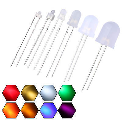 2mm 3mm 5mm 8mm 10mm LED Diffused Warm White Blue Red Emitting Diodes Round Top