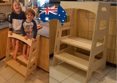 Double Twin Kitchen Helper Tower - Montessori kitchen stool step stool learning