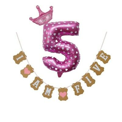 I Am Five Banner Balloons 5 Years Birthday Decorations 5th Boy Girl Party K6