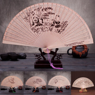 Fragrant Wooden Folding Fan Hand Hollow Carved Bamboo Chinese Style