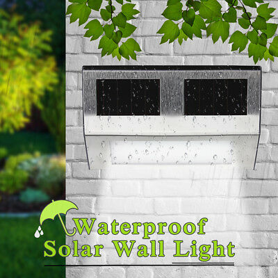 LED Solar Power Outdoor Lamp Stainless Steel Fence Garden Wall Stair Step Light
