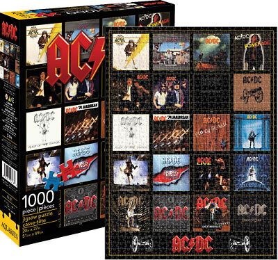AC/DC DISCOGRAPHY ALBUM Collage 1000 Piece Jigsaw Puzzle NEW music