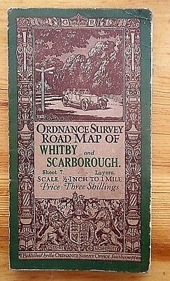 Antique 1912 Ordnance Survey Linen Backed Road Map Of Whitby & Scarborough