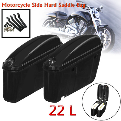 Pair Motorcycle Side Hard Saddle Bags Saddlebags Trunk For Harley Touring Honda