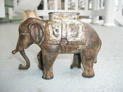 Original Vintage Cast Iron Elephant Still Bank With Moveable Trunk