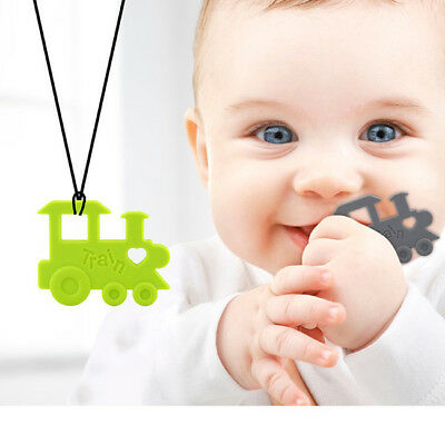 Silicone Train Teether BPA Free Teething Pendant Necklace Baby Chew Toys 6A