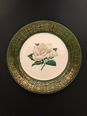 Vintage Triumph American Limoges U.G. Forest Green Chateau Rose 22k Gold BOWL