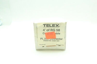 New Telex 58074001 4ft Rg 58 Coaxial Cable W/ Pl 259 Connector
