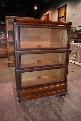 Antique Mahogany 3 Section Barrister Lawyer's Bookcase Globe-Wernicke