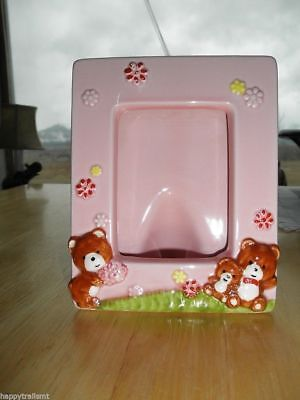 Fine Porcelain Pink BABY GIRL Picture Frame Flowers Teddy Bears 4 X 6 Japan Cute
