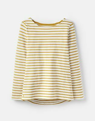Joules 124820 Jersey Top Shirt in Cream AND GOLD STRIPE