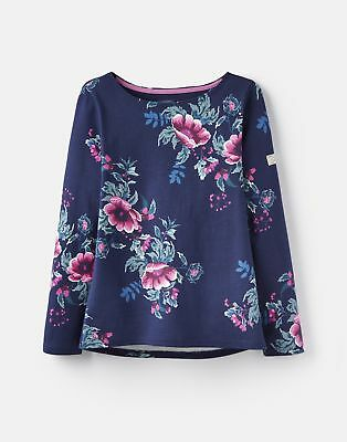 Joules 124821 Printed Jersey Top Shirt in FRENCH NAVY CHRISTMAS CAMELLIA