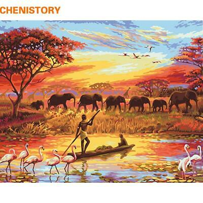 CHENISTORY Elephant Sunset Diy Painting By Numbers Landscape Modern Wall Art ...