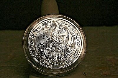 "5 Pound 2017 ""The Queens Beasts Red Dragon Of Wales"" 2 Oz .9999 Fine Silver Coin"
