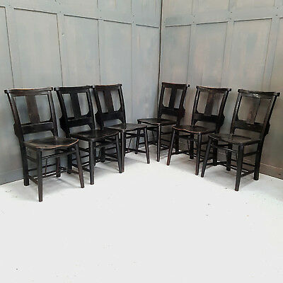 Set of 6 Stylish Ebony Lacquered Vintage Elm Church Chapel Pub Restaurant Chairs