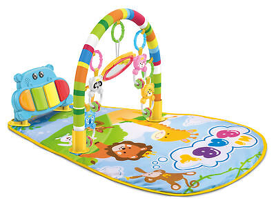 Teeny Fish Baby Gym Play Mat Lay & Play 3 in 1 Music And Lights Fun Blue Piano