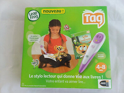 Leap Frog Tag Reading System French Purple Pen with Storybook Age 4-8