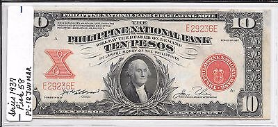 1937 Us/ Philippine 10 Peso Note Pick #58- Scarce Note Note Is Au/cu