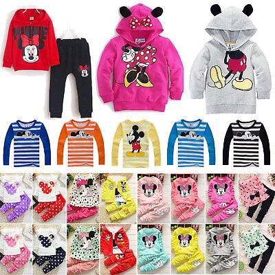 Toddler Kids Baby Girls Mickey Minnie Hoodie Sweatshirt Tops Outfits Set Clothes