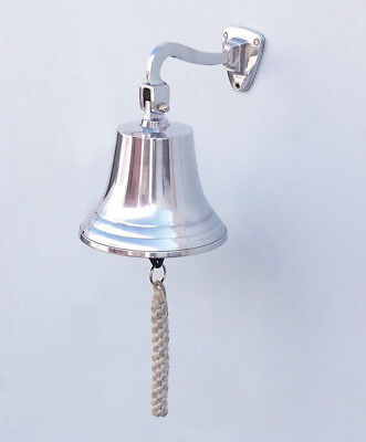 "Chrome Plated Solid Aluminum Ship's Bell 7"" Nautical Hanging Wall Decor New"
