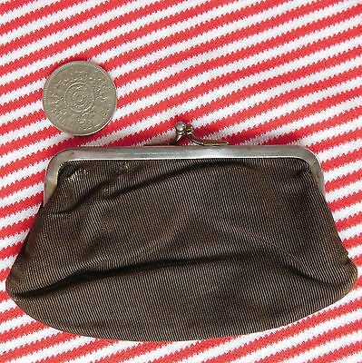 Vintage ladies coin purse Traditional design Brown fabric Mid 20th century