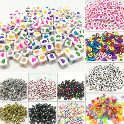 NEW 200pcs 6x6mm Mixed Alphabet/Letter Acrylic Cube Beads  Heart shaped bead