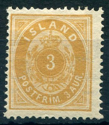 Weeda Iceland #21 F Unused/mint no gum 1897 3 Aurar issue CV $125.00