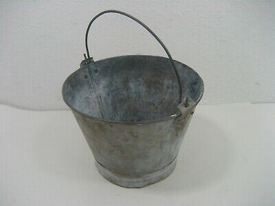 Vintage Rustic Galvanized Silver Metal Bucket Pail Drink Holder with Handle