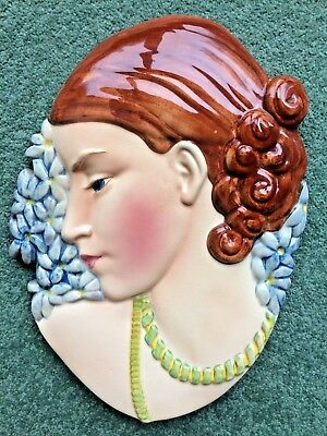 Art Deco Beswick ware wall plaque Hyacinth Lady designed by Miss Greaves no 436