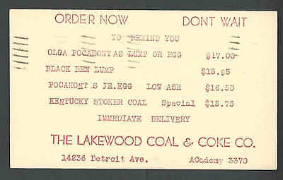 1949 Pc Cleveland Oh The Lakewood Coal & Coke Co Order Form For Coal In Red