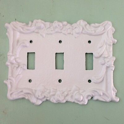 Ornate Floral Triple Light Switch Plate Cover White Brass Metal Vtg 3 Toggle