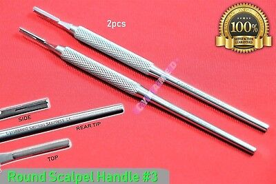 New 2Pcs Scalpel Handle #3 Round Pattern Premium German Surgical Crafts Dental