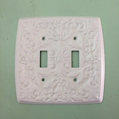 Ornate French Double Light Switch Plate Cover White Brass Metal Vintage 2 Toggle