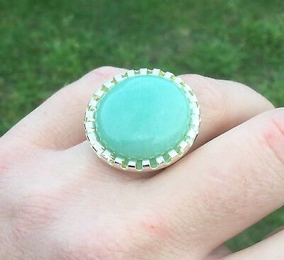 NEW! Large Amazonite Gemstone Handmade Adjustable Dress Ring - Aussie Seller!