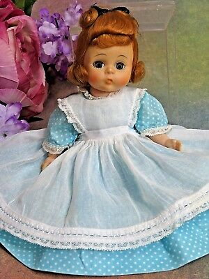 "VINTAGE Madame Alexander-kins DOLL bent knee AMY in tagged blue dress HP 8"" 1961"