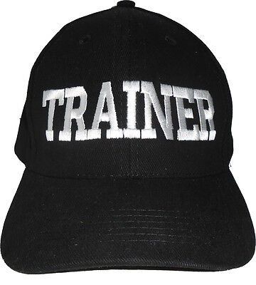 TRAINER Black Baseball Cap Embroidered Quality Hat