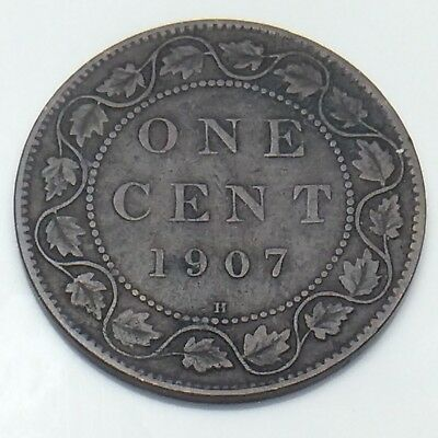 1907 H Canada Large Copper Penny One 1 Cent Canadian Circulated Coin G582