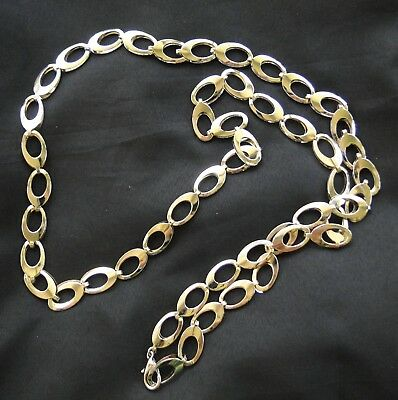 Womens Flat Chain Belt Silver Tone 38""