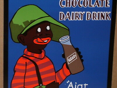 CHOCOLATE MILK SIGN - Shows Old GLASS MILK BOTTLE -Advertises O'BABY Dairy Drink
