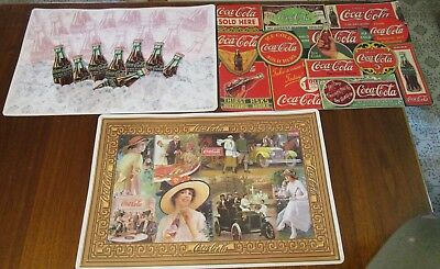 Lot of 3 Different Design Plastic Vinyl Coca-Cola Placemats Reversible USA Made