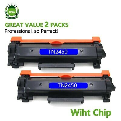 2 x TN2450 with Chip Toner for Brother MFC-L2713DW MFC-L2730DW MFC-L2750/L2350DW