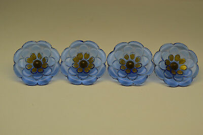 4 Vintage Blue Glass Flower Curtain Tie Back Push Pins