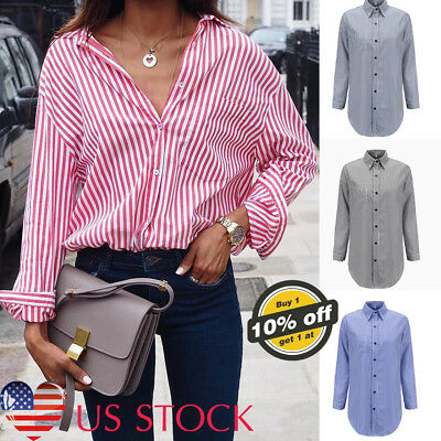 Womens Button Down Striped T-shirt Long Sleeve Lapel Blouse Loose OL Casual Tops