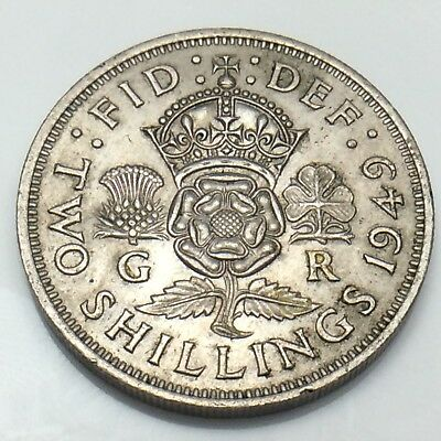 1949 Two 2 Shilling Great Britain United Kingdom Uncirculated Silver Coin G583