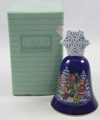 Avon 1987 Christmas Bell Porcelain Blue w/Snowflake Handle Children Carolers